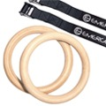 Emerge Wooden Olympic Gymnastic Rings with Heavy Duty Adjustable Straps