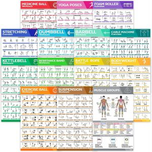 14-Pack Laminated Large Workout Poster